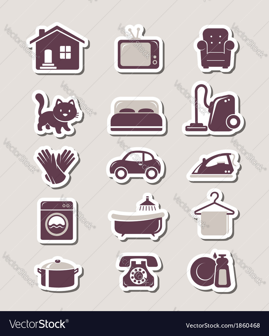 Household paper cut icons vector | Price: 1 Credit (USD $1)