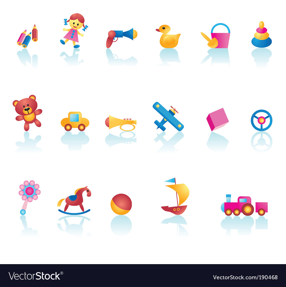 Kid toys icons vector | Price: 1 Credit (USD $1)