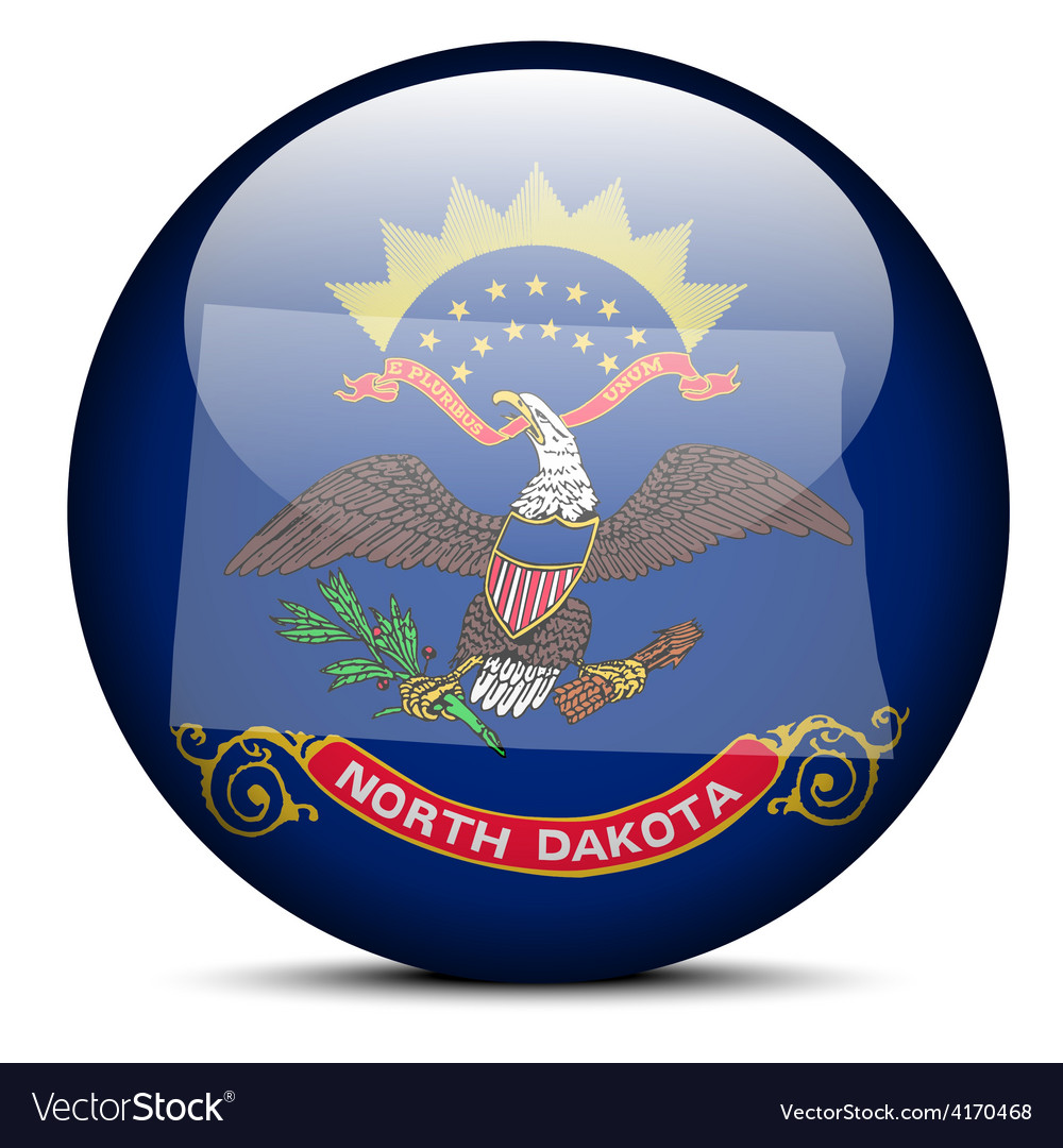 Map on flag button of usa north dakota state vector | Price: 1 Credit (USD $1)