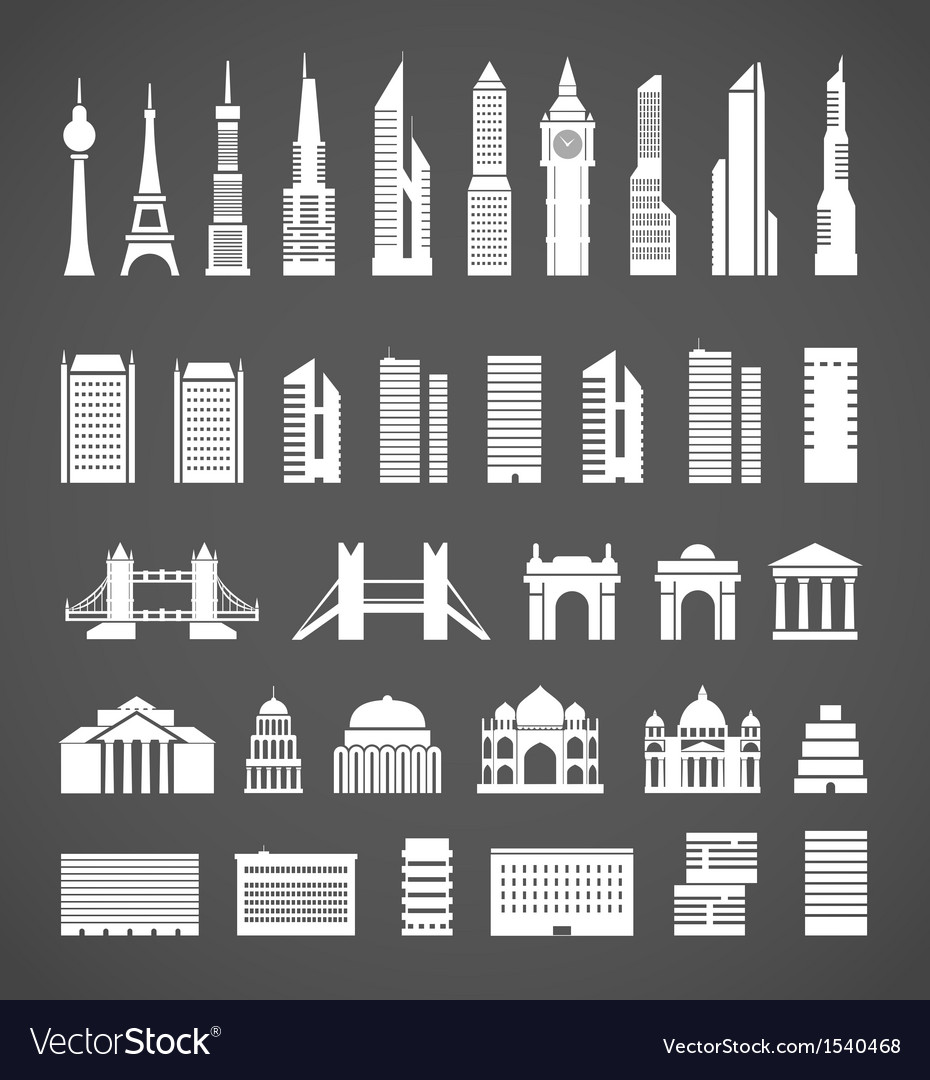 Modern city elements silhouettes collection vector | Price: 3 Credit (USD $3)