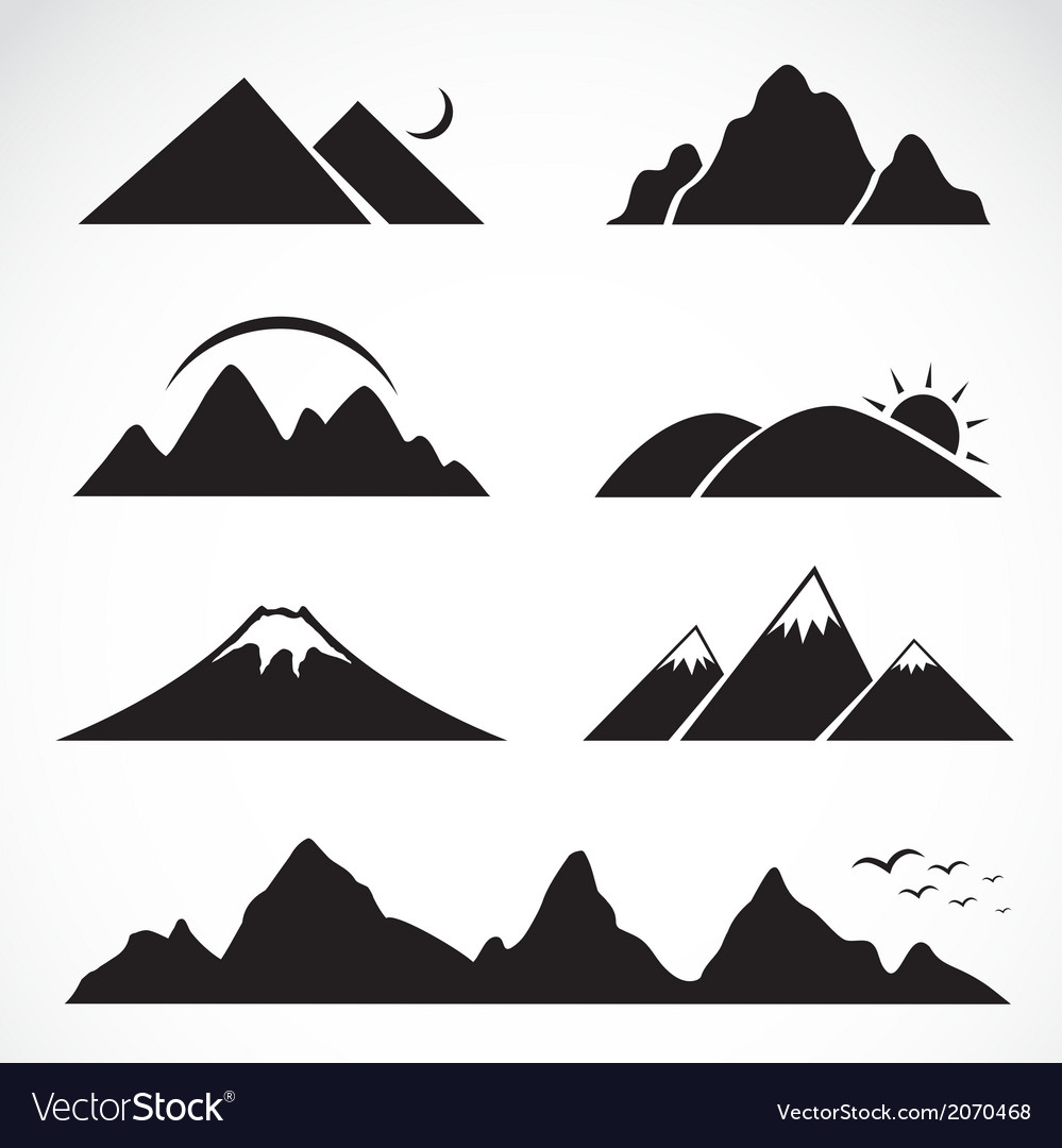 Set of mountain icons vector | Price: 1 Credit (USD $1)