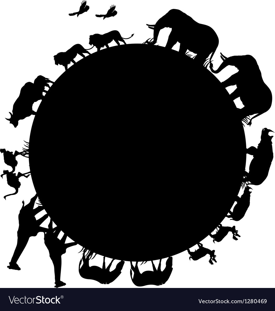 Animal silhouette and world vector | Price: 1 Credit (USD $1)