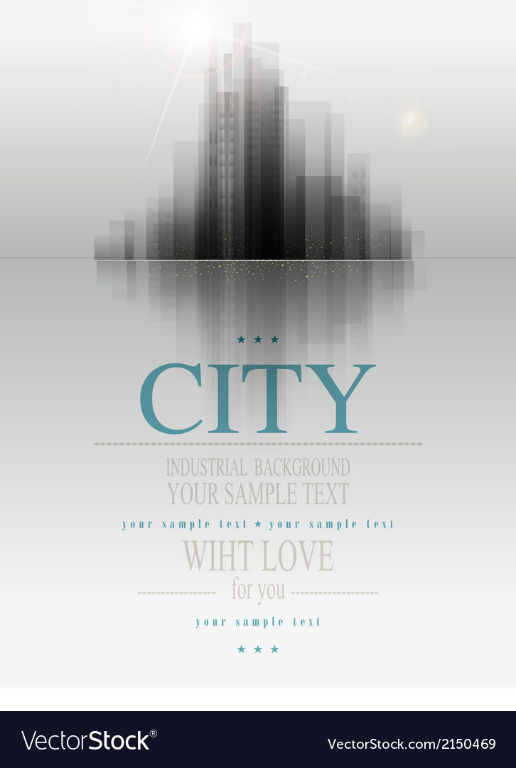 Banner for business with the city and reflection vector | Price: 1 Credit (USD $1)