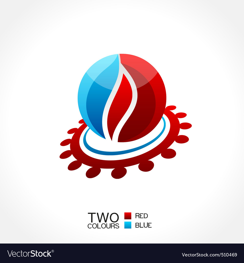 business emblem fire water icon round vector | Price: 1 Credit (USD $1)