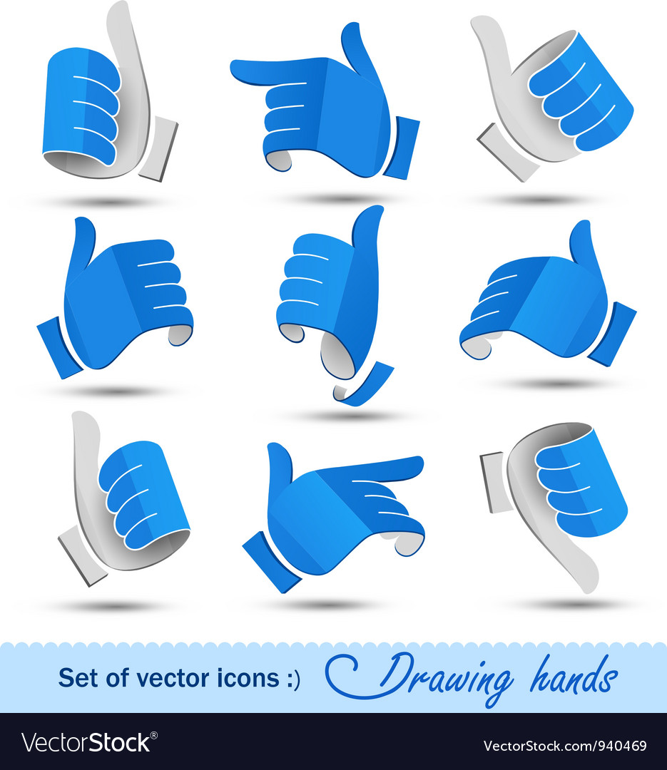 Collection of drawing hands vector | Price: 3 Credit (USD $3)