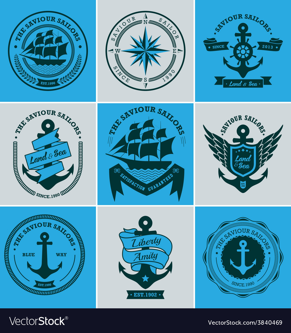 Collection of vintage nautical badges and labels vector | Price: 1 Credit (USD $1)