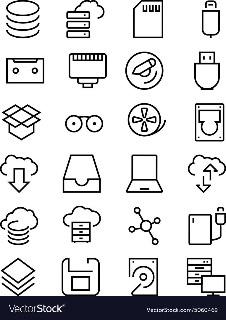Data storage line icons 2 vector