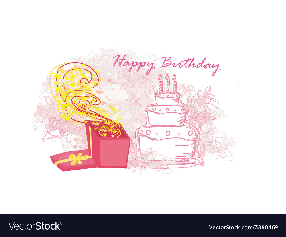 Happy birthday - abstract floral greeting card vector | Price: 1 Credit (USD $1)