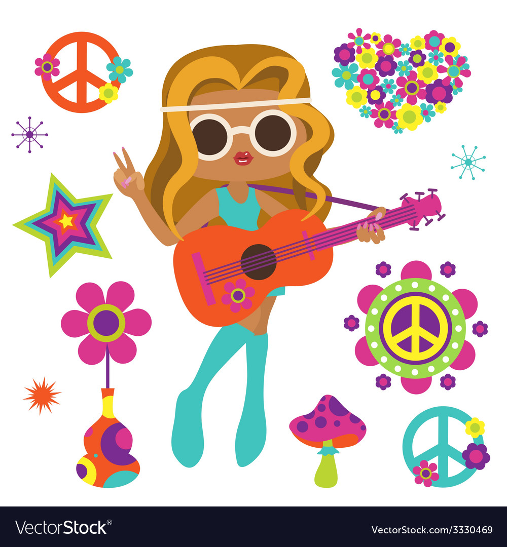 Hippie girl with guitar and psychedelic art vector