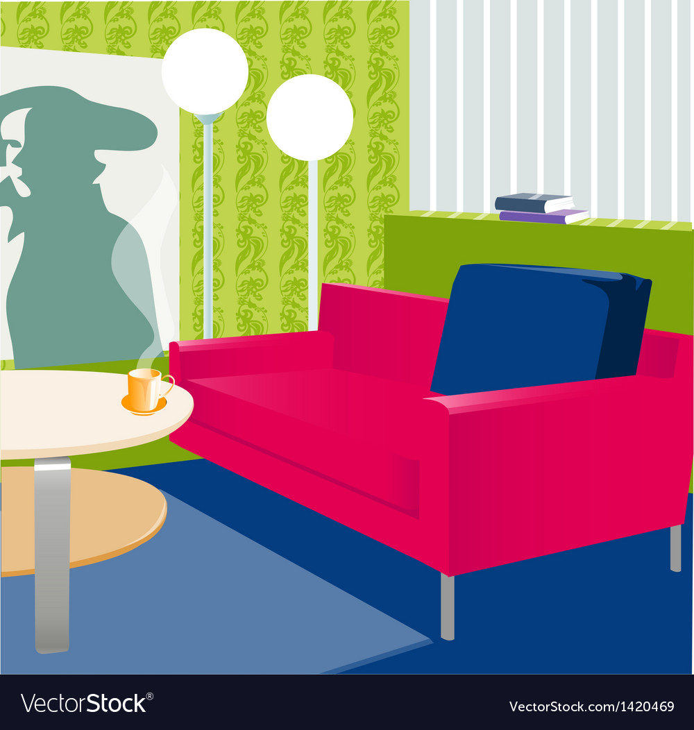 Interior floor-lamp sofa vector | Price: 1 Credit (USD $1)