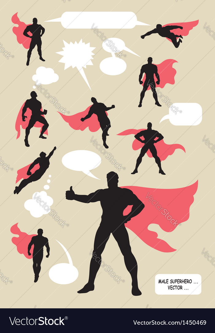 Male superhero silhouettes vector | Price: 1 Credit (USD $1)