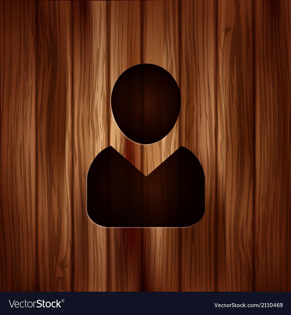 Person icon wooden background vector | Price: 1 Credit (USD $1)