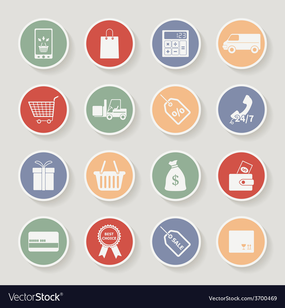 Round shopping icons vector | Price: 1 Credit (USD $1)