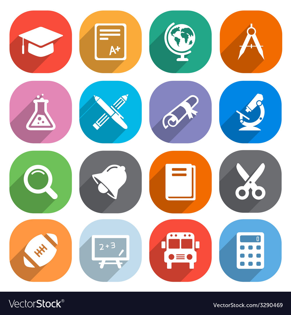 Trendy flat education icons elements vector | Price: 1 Credit (USD $1)