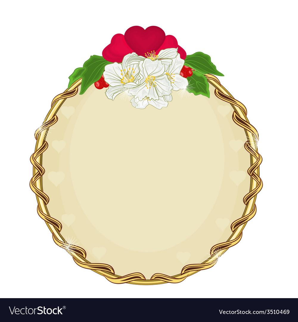 Valentines day golden round frame hearts vector | Price: 1 Credit (USD $1)