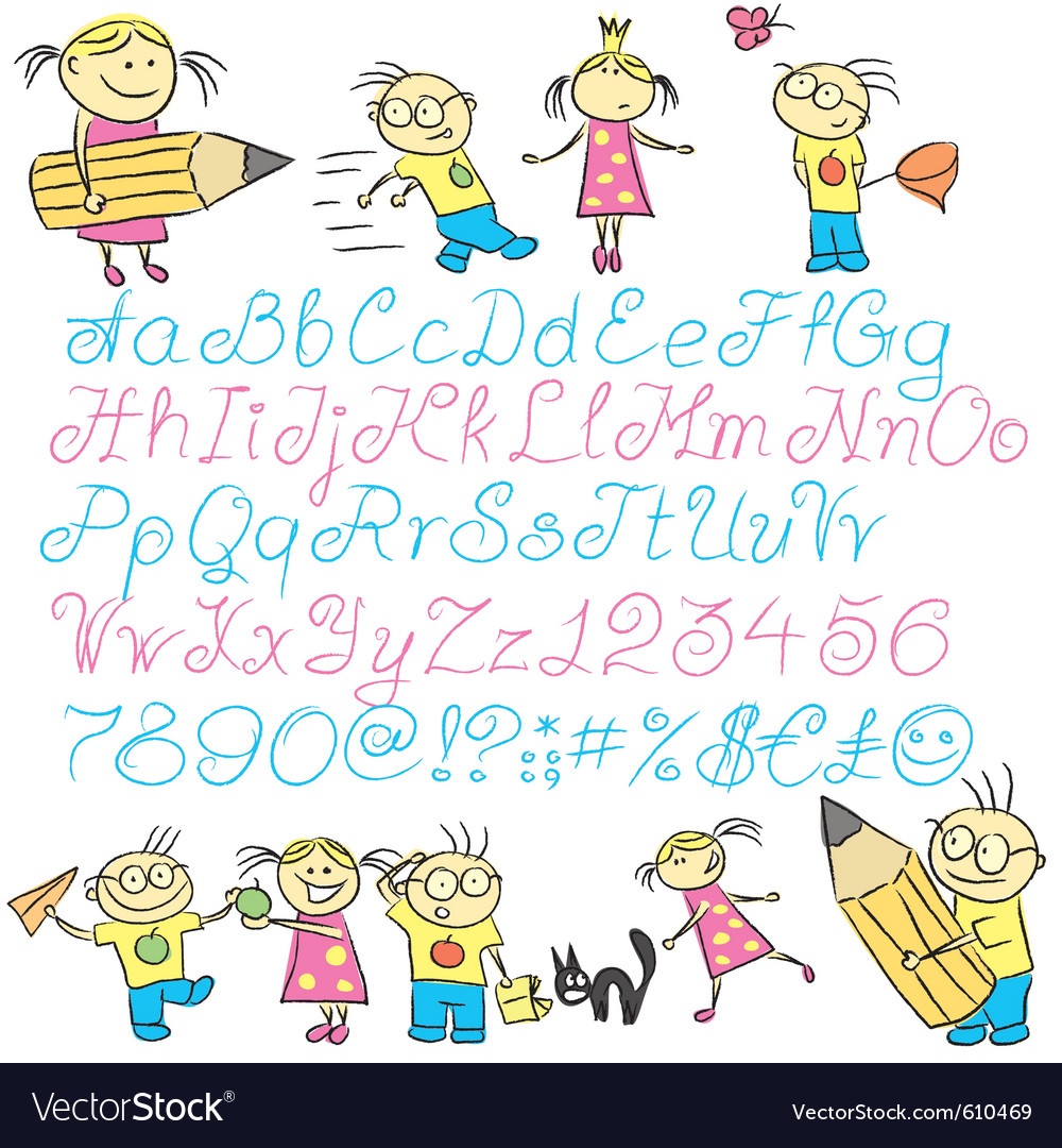 Vecrot children calligraphy letters with boy and g vector   Price: 1 Credit (USD $1)