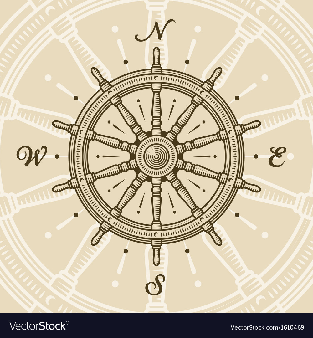 Vintage ship wheel vector | Price: 1 Credit (USD $1)