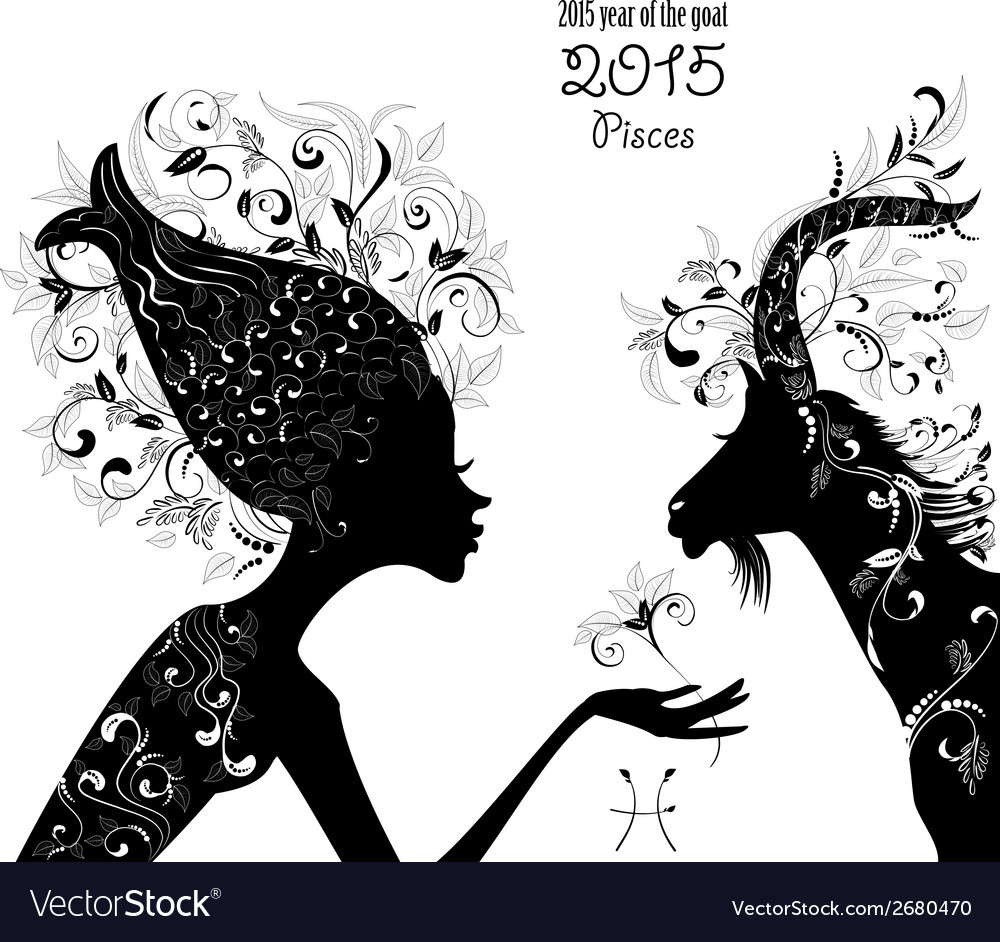 2015 year of the beautiful goat and zodiac sign vector   Price: 1 Credit (USD $1)