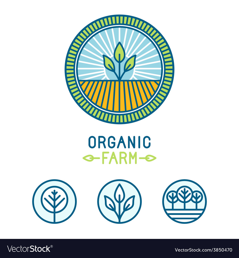 Agriculture and organic farm line logos vector | Price: 1 Credit (USD $1)