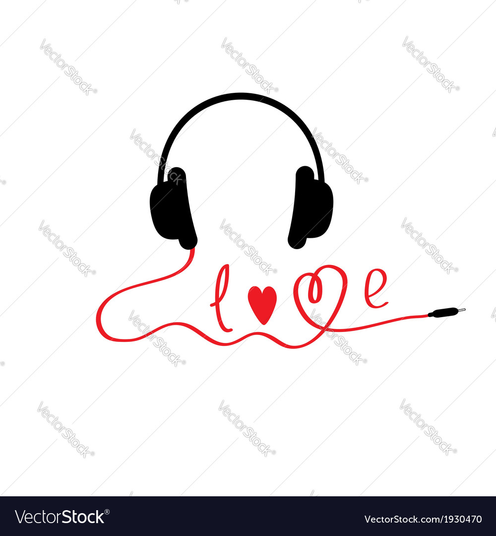 Black and red headphones white background love vector | Price: 1 Credit (USD $1)