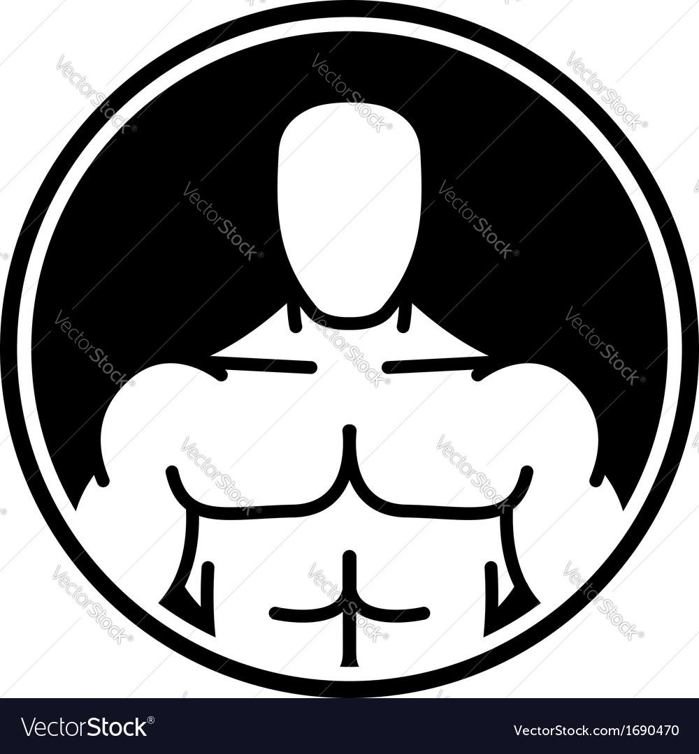 Bodybuilder symbol in black circle vector | Price: 1 Credit (USD $1)