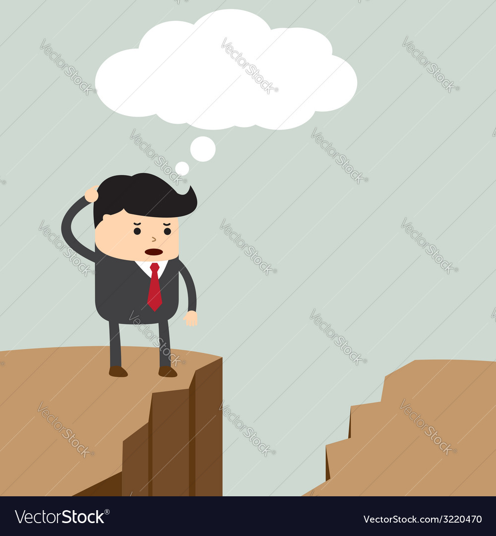 Businessman standing on the cliff and looking for vector | Price: 1 Credit (USD $1)