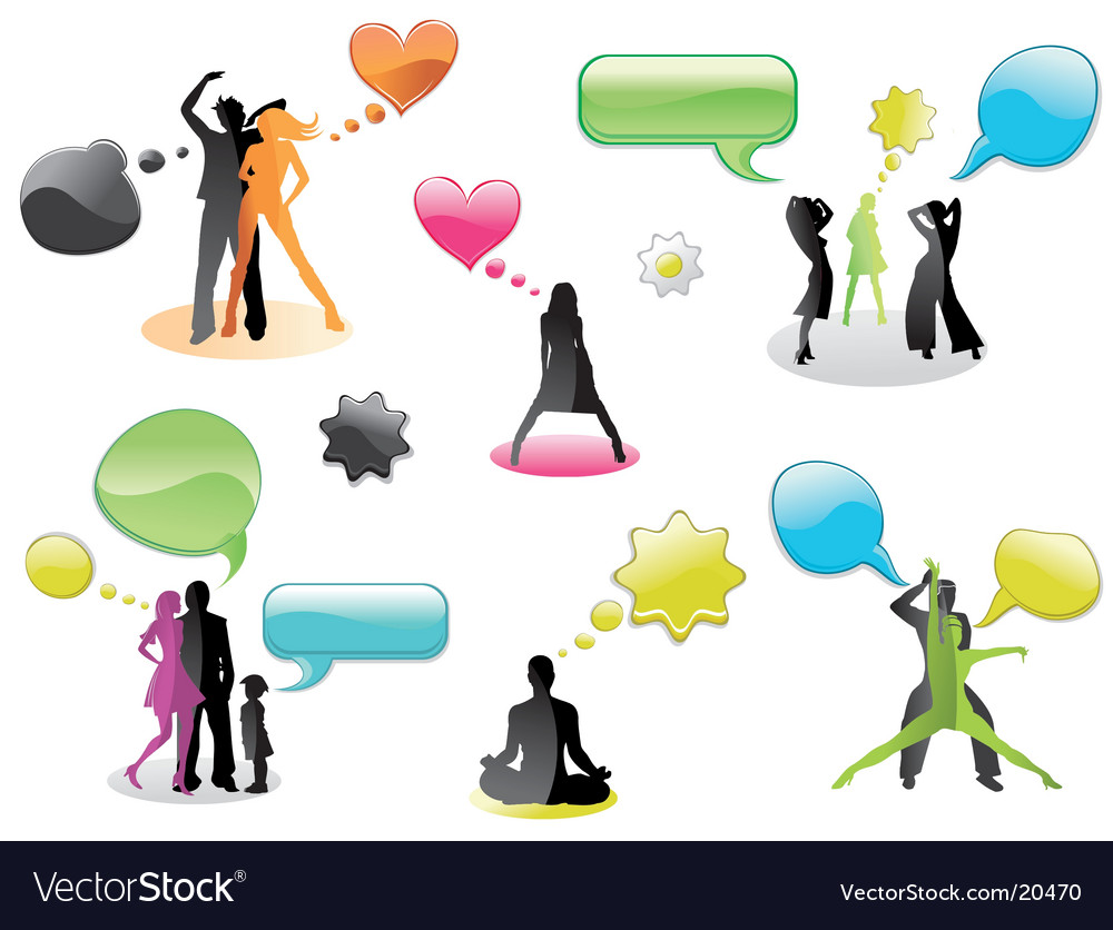 Chatting and thinking people vector | Price: 1 Credit (USD $1)
