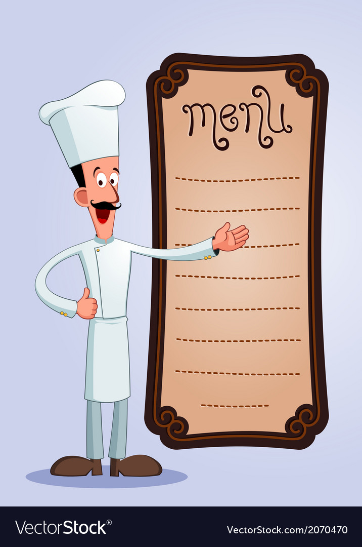 Cheff offering menu vector   Price: 1 Credit (USD $1)