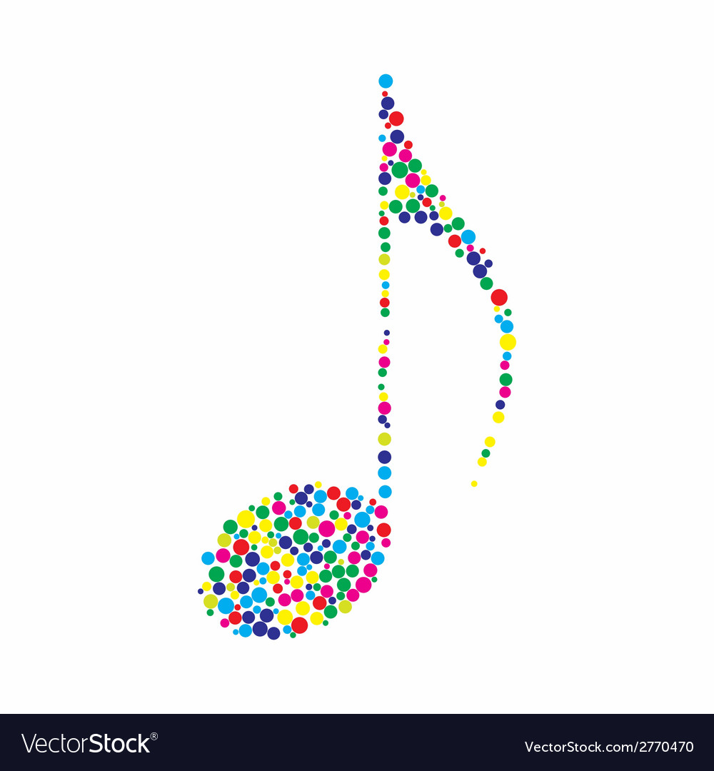 Dotted colorful music note vector | Price: 1 Credit (USD $1)