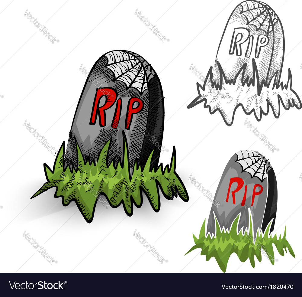 Halloween monsters isolated spooky tombstones set vector | Price: 1 Credit (USD $1)