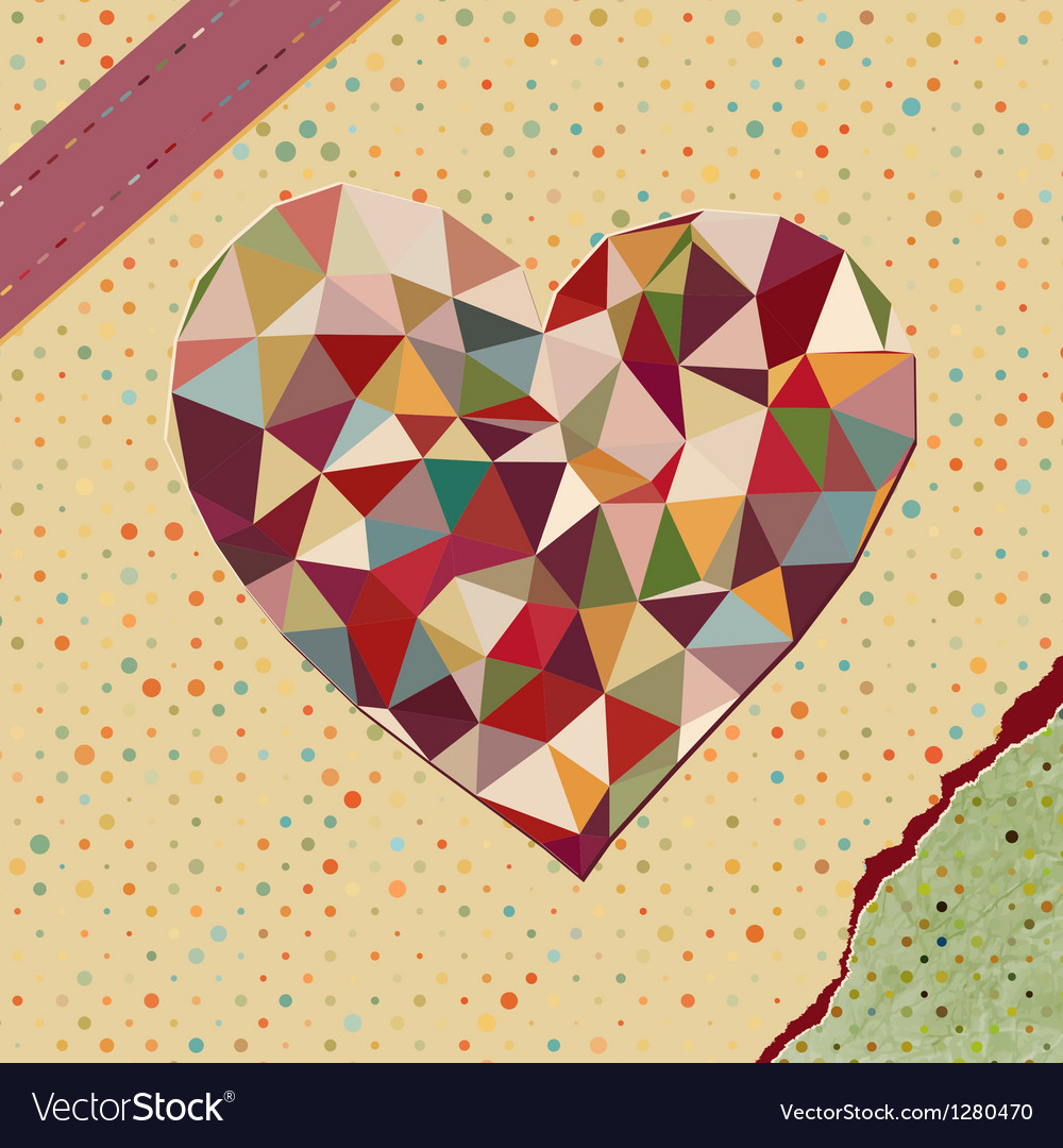 Heart made from triangles on polka dot vector | Price: 1 Credit (USD $1)
