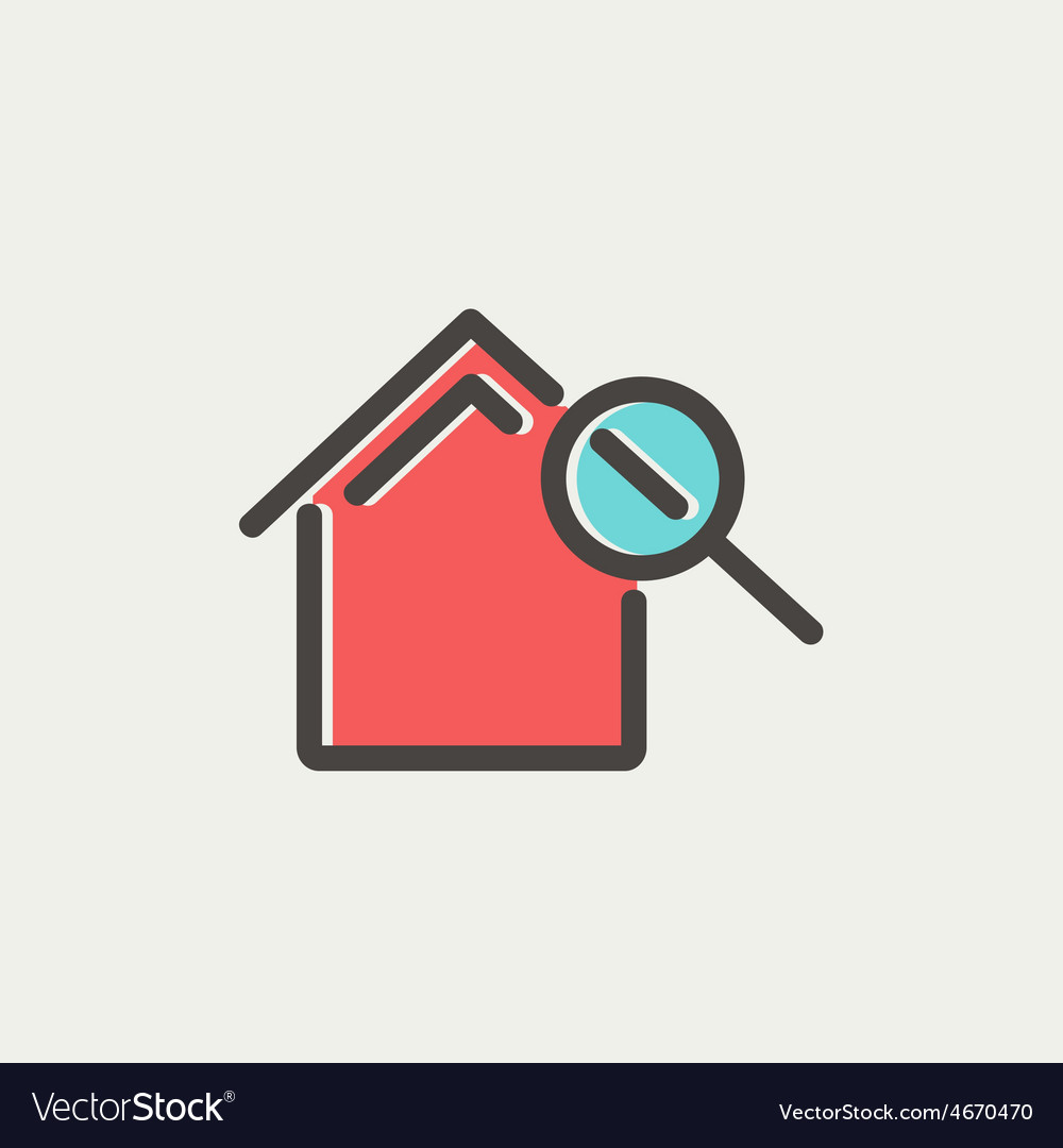 House and magnifying glass thin line icon vector | Price: 1 Credit (USD $1)