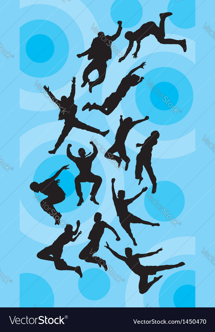 Man jumping silhouettes vector | Price: 1 Credit (USD $1)