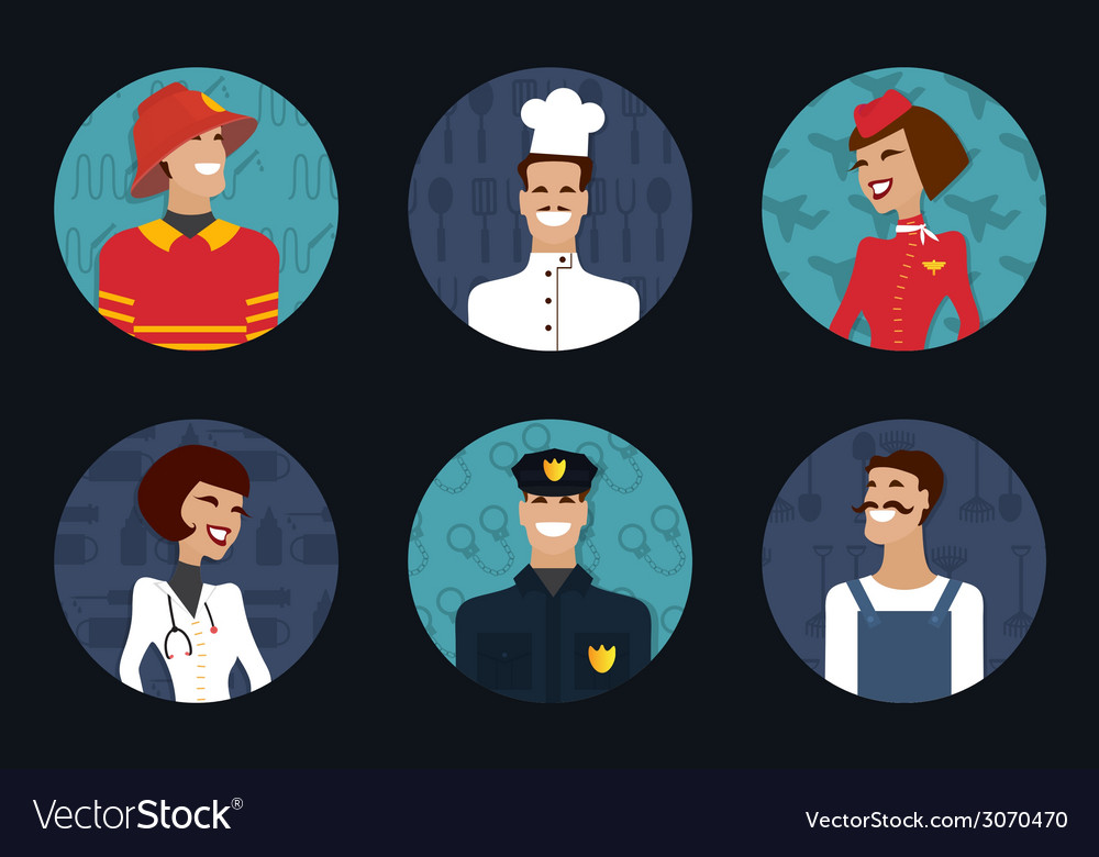 People profession occupation firefighter cooker vector   Price: 1 Credit (USD $1)