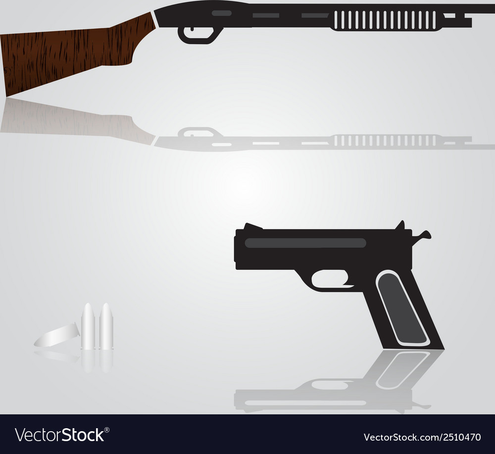 Pistol and shotgun weapons eps10 vector | Price: 1 Credit (USD $1)