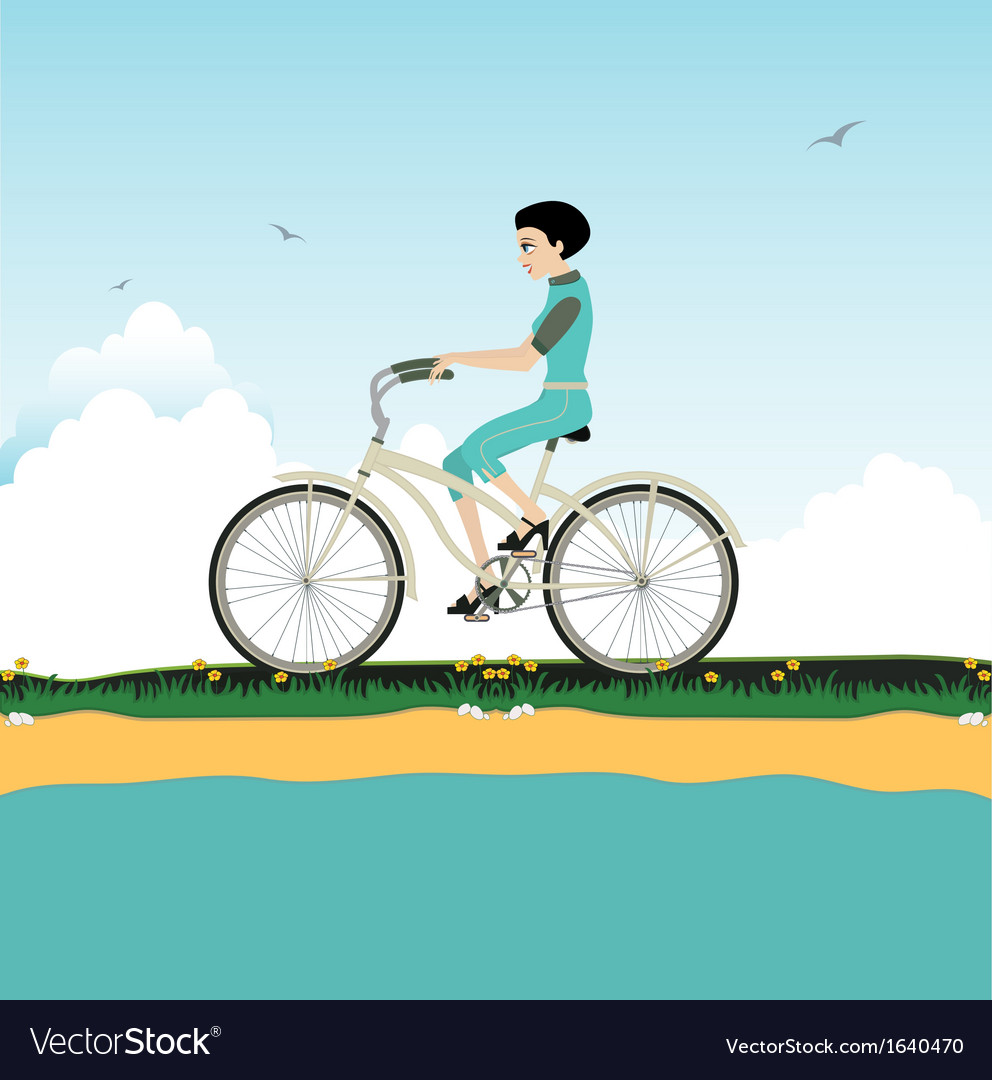 Women riding a bicycle vector | Price: 1 Credit (USD $1)