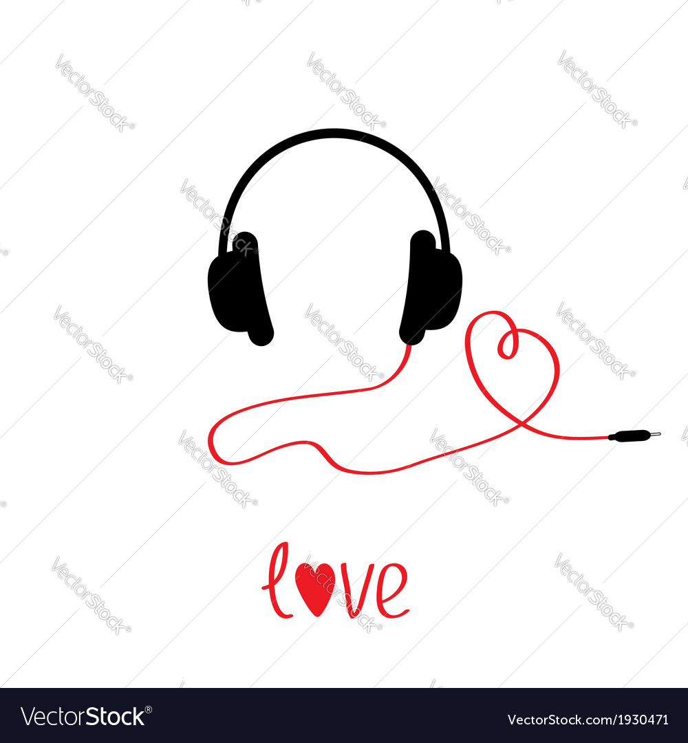 Black and red headphones and cord in shape of hear vector | Price: 1 Credit (USD $1)