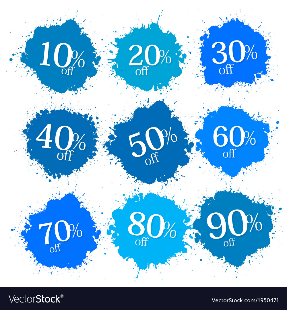 Blue discount labels stains splashes vector   Price: 1 Credit (USD $1)