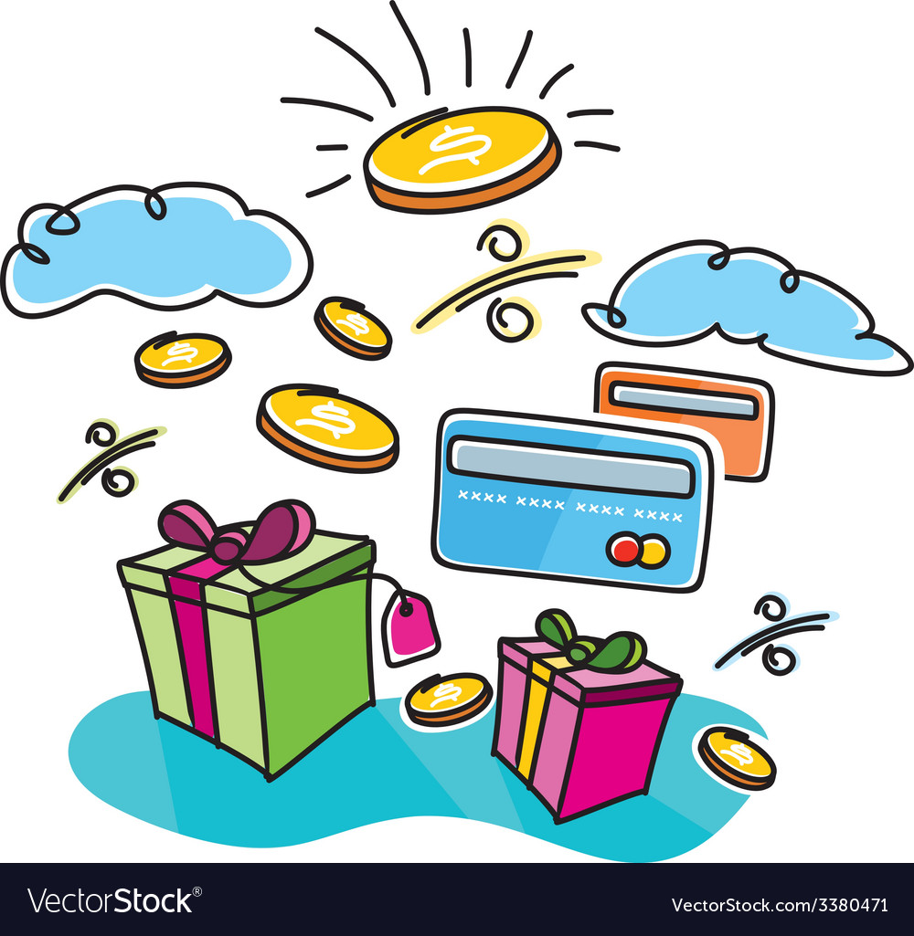 Boxes with gifts shopping interest payment cards vector | Price: 1 Credit (USD $1)