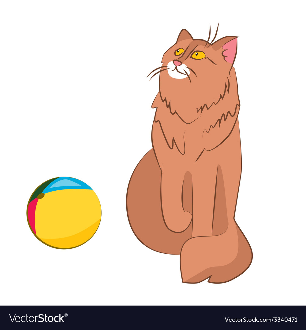 Cat and ball vector | Price: 1 Credit (USD $1)