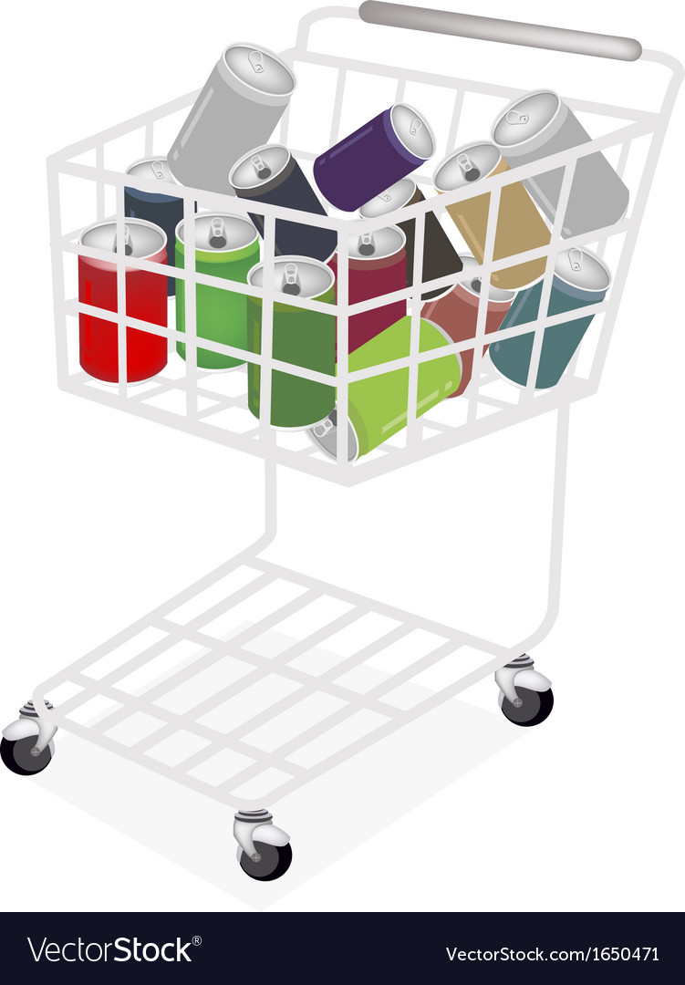 Colorful soda cans in a shopping cart vector | Price: 1 Credit (USD $1)