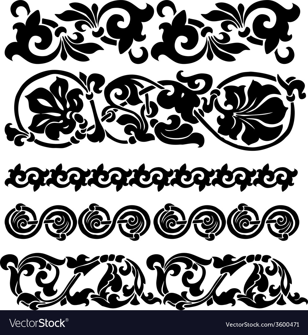 Floral ornament set vector | Price: 1 Credit (USD $1)