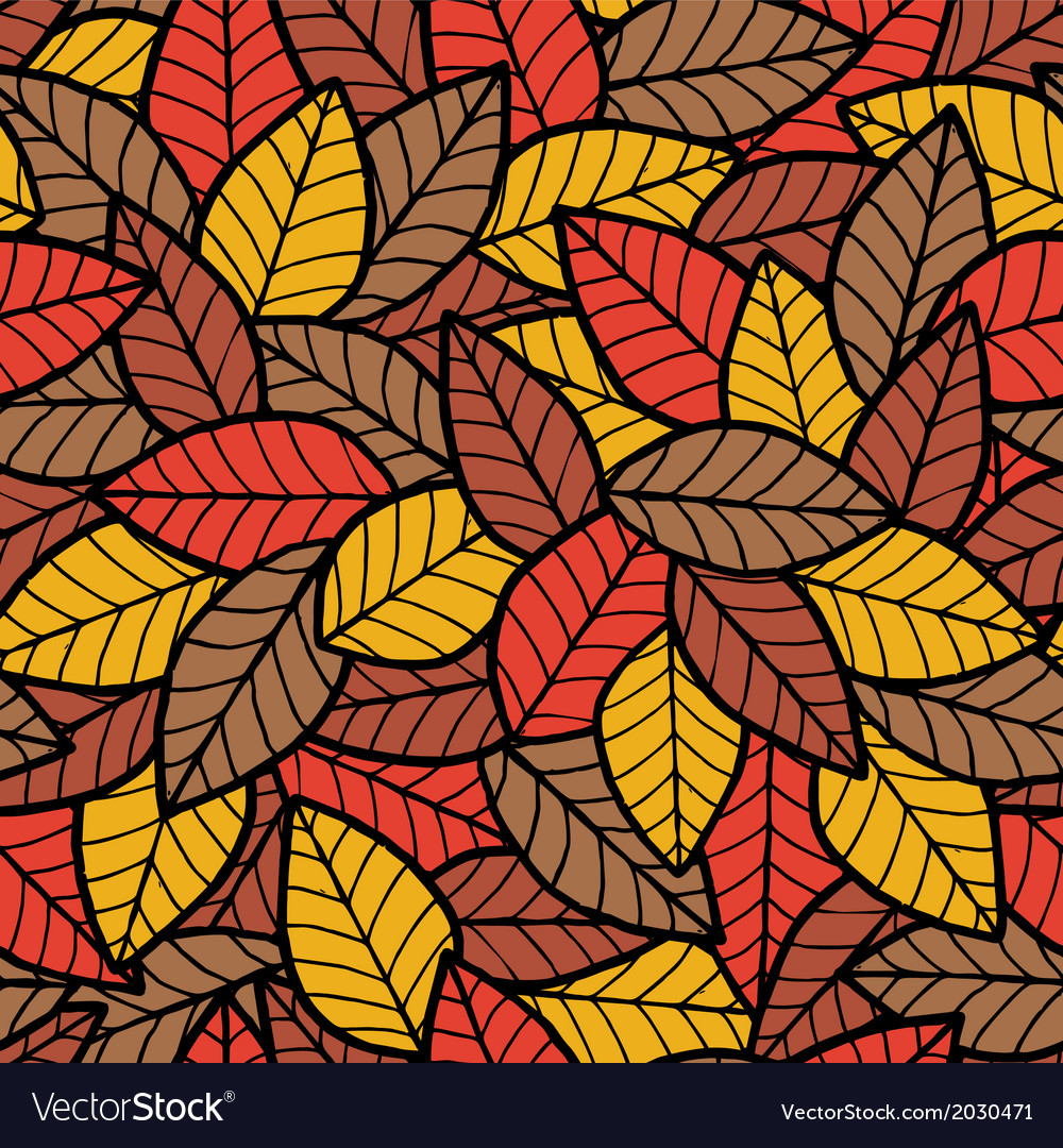 Leafs seamless pattern autumn vector | Price: 1 Credit (USD $1)