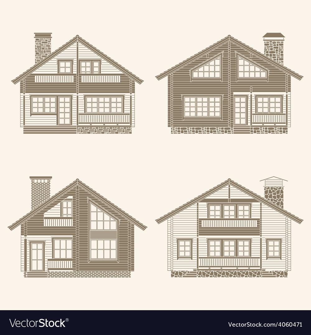 Log houses set vector | Price: 1 Credit (USD $1)