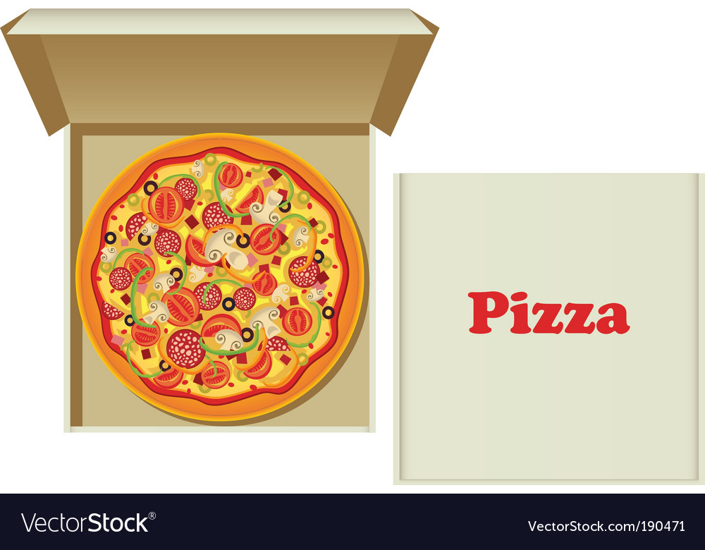 Pizza in box vector | Price: 1 Credit (USD $1)