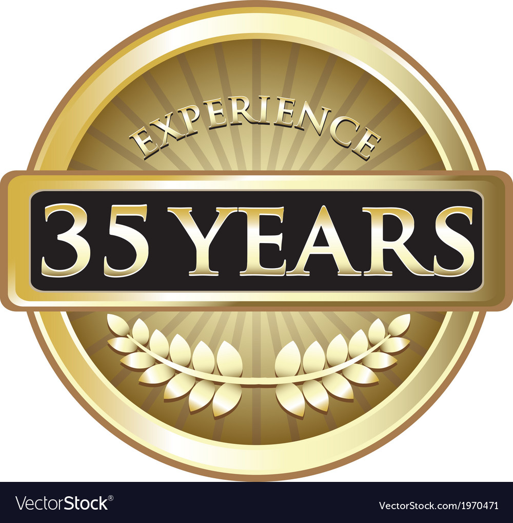 Thirty five years experience gold vector | Price: 1 Credit (USD $1)