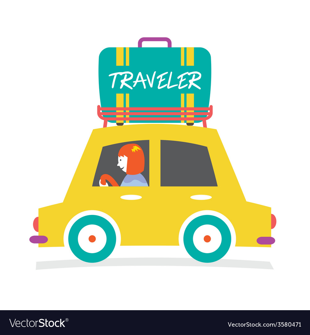 Travelers car with huge luggage on the rack vector | Price: 1 Credit (USD $1)