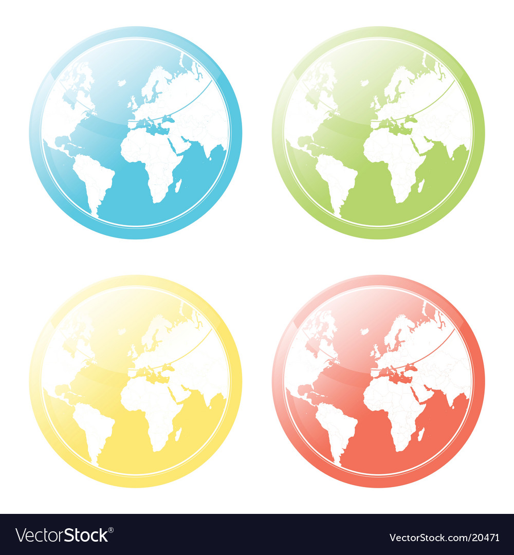 World map glossy icons set vector | Price: 1 Credit (USD $1)