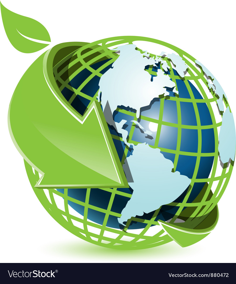 Blue globe and green arrow vector | Price: 1 Credit (USD $1)