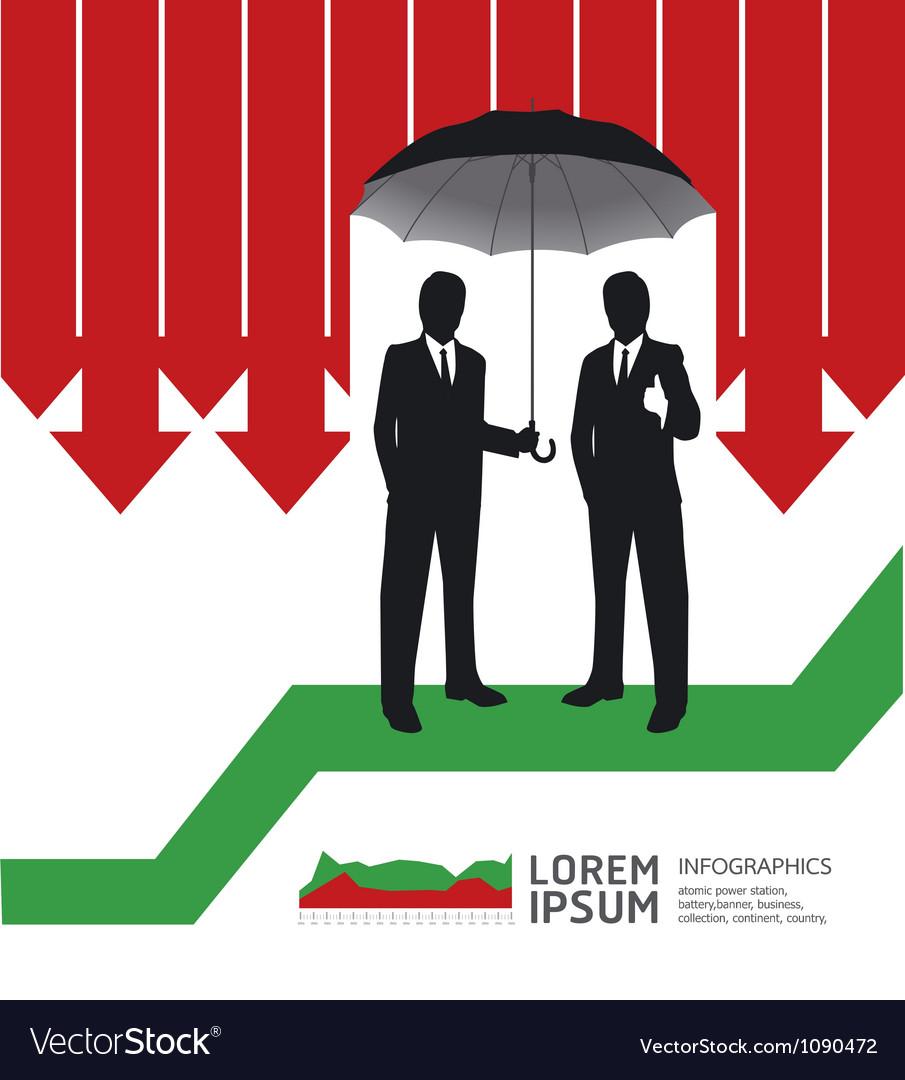 Businessman in umbrella creative finance safe vector | Price: 1 Credit (USD $1)